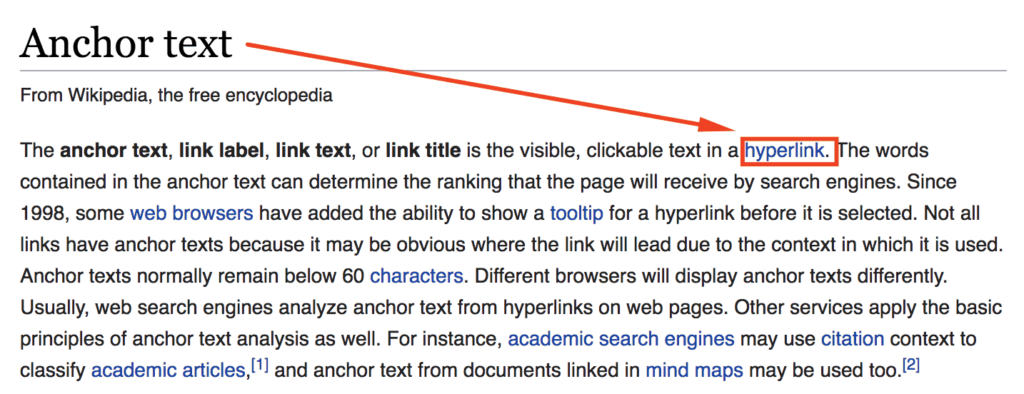 Anchor text The internal links are less effective