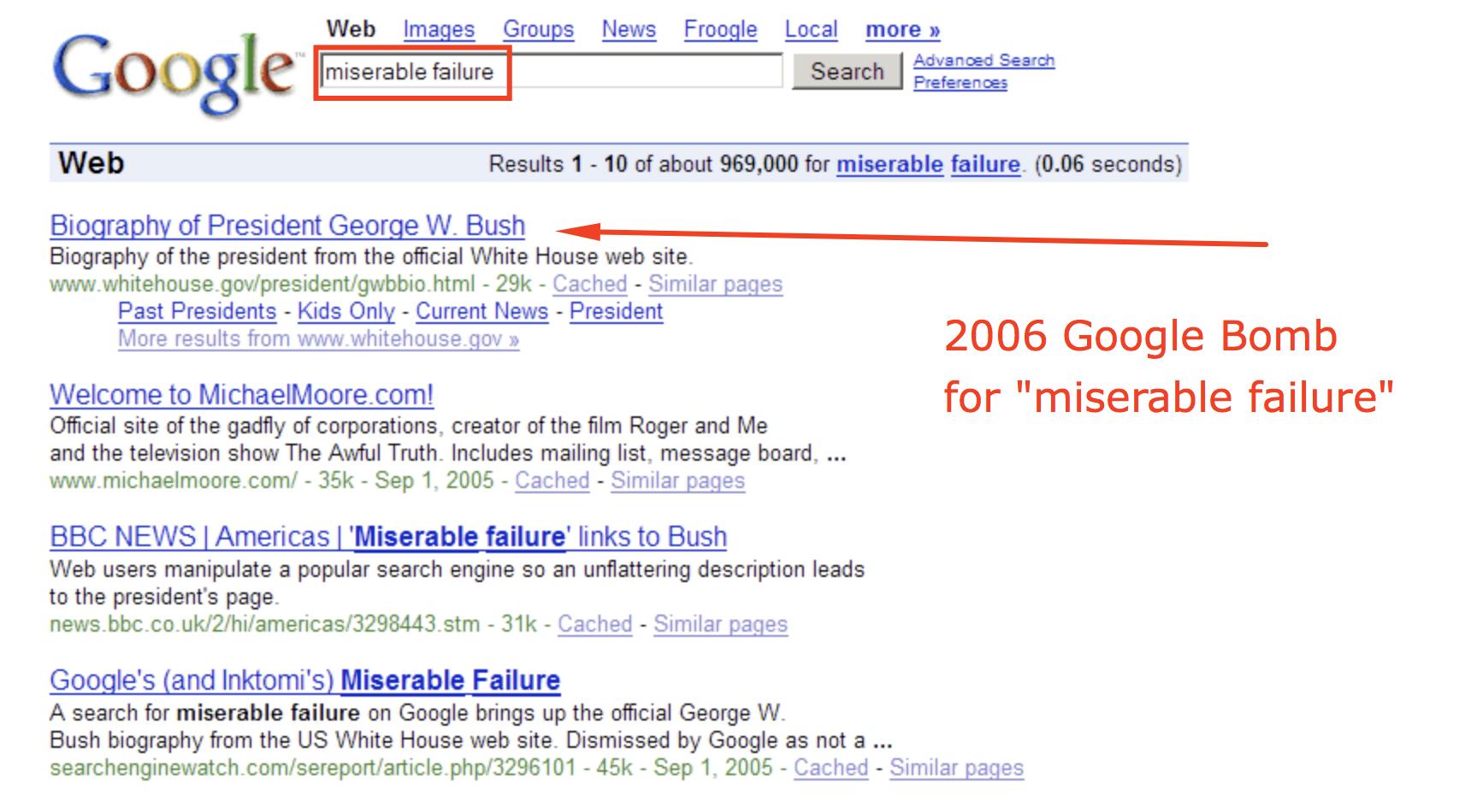 anchor text google bomb George W Bush
