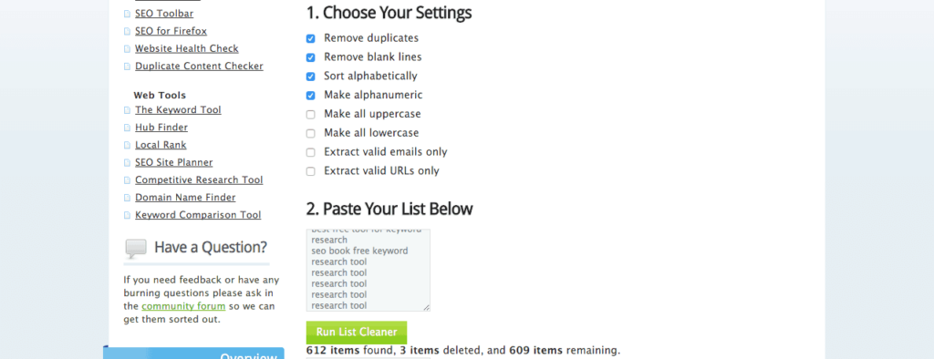 Clean keyword lists seo book tool