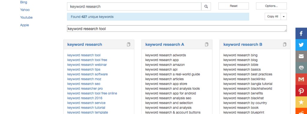 Keyword research tool tejji