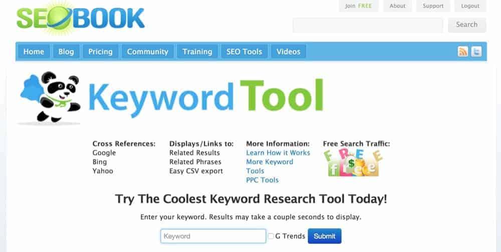 Seobook kw tool